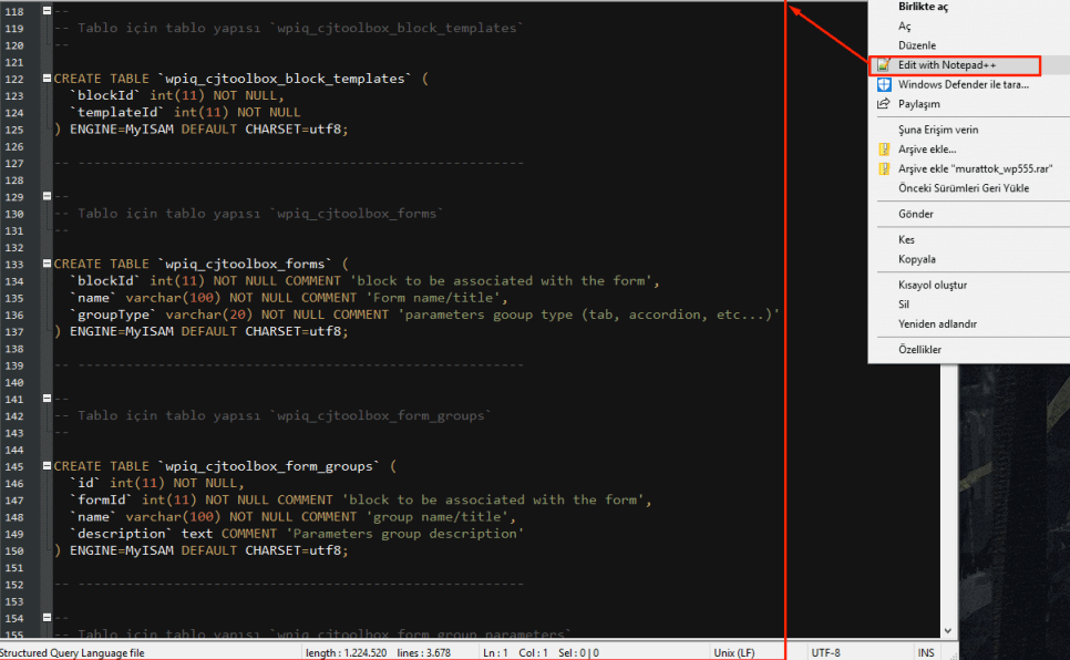 notepad ++ veritabanı değiştirme