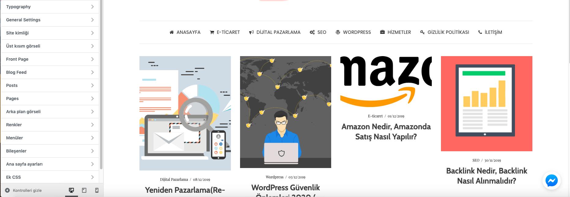 wordpress tema özelleştirme görsel