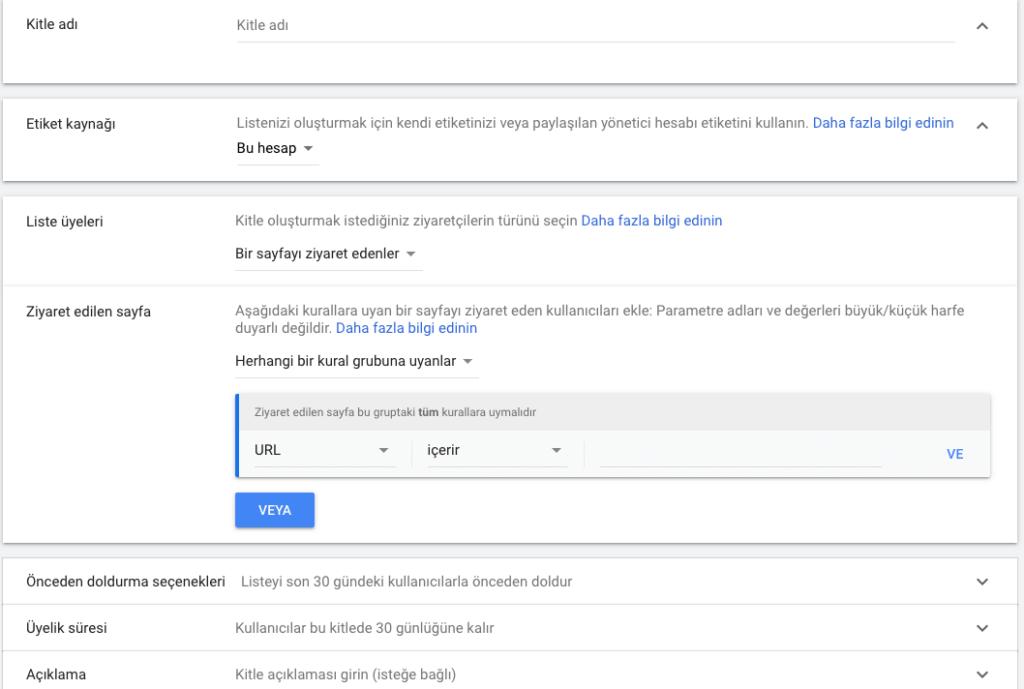 google ads yeniden pazarlama kitleleri oluşturma