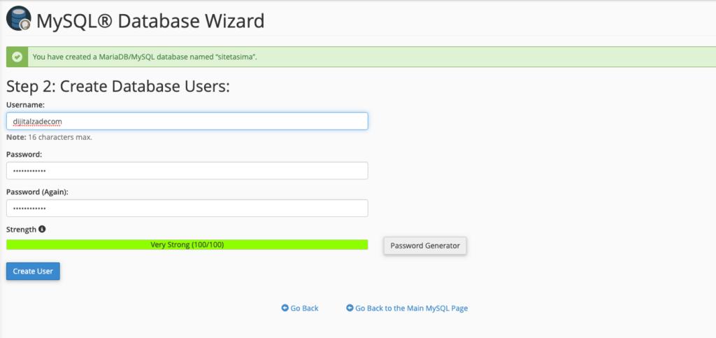 yeni veritabanı üzerinde kullanıcı oluşturma
