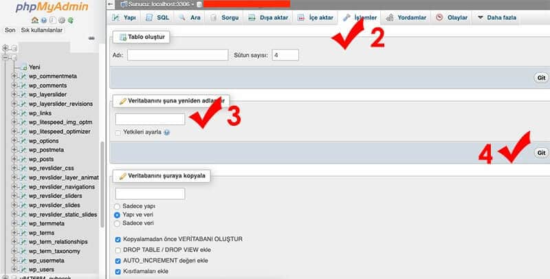 Veritabanı isim değiştirme phpmyadmin adım adım işlemler