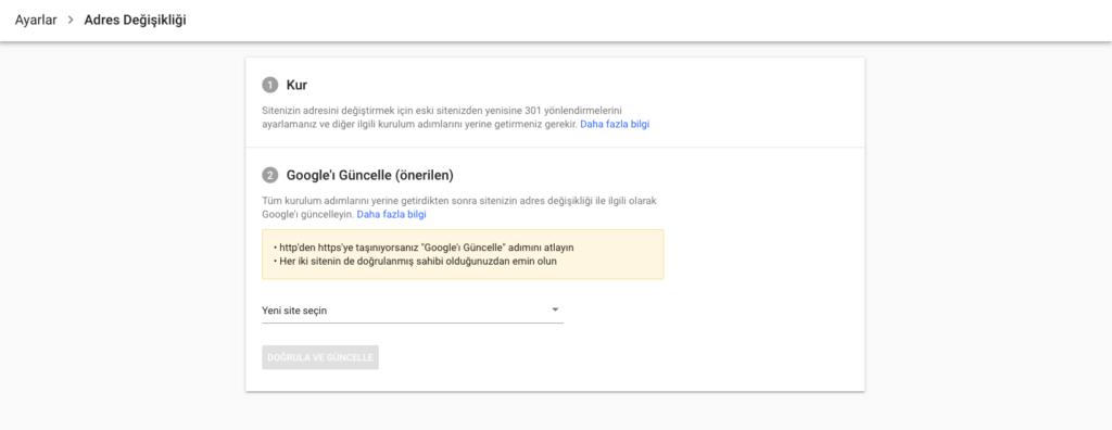 google search console adres değişikliği