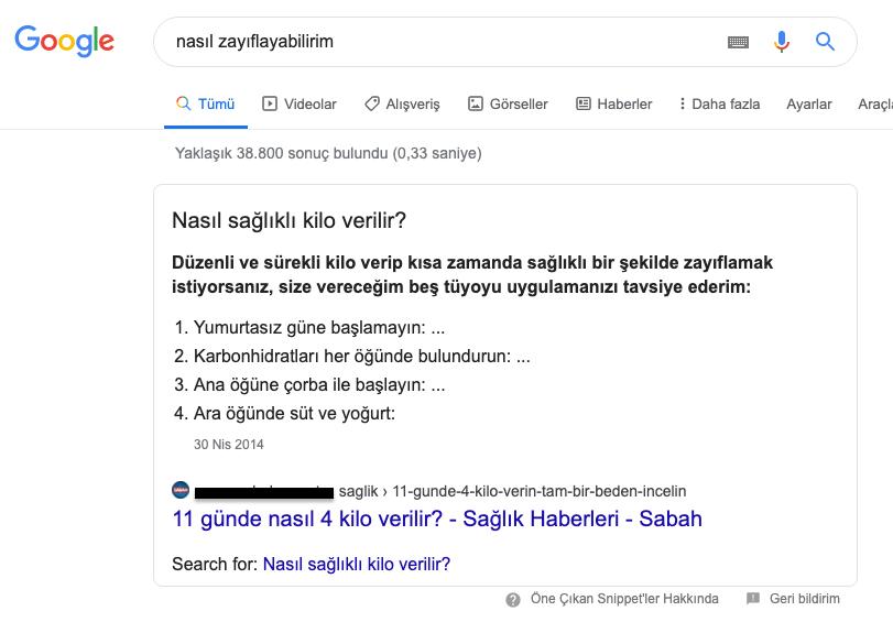 öne çıkarılmış snippet (Featured Snippet) örneği, Google dan bir ekran görüntüsü