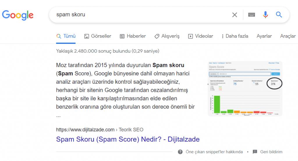 Google spam skoru sorgusu featured snippet