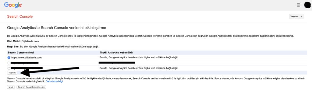Google Analytics Search Console bağlama