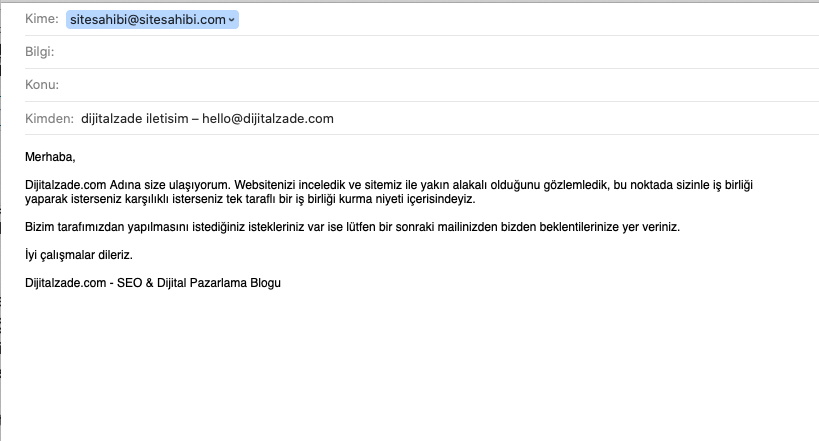 E-ticaret seo mail ile link alma örneği