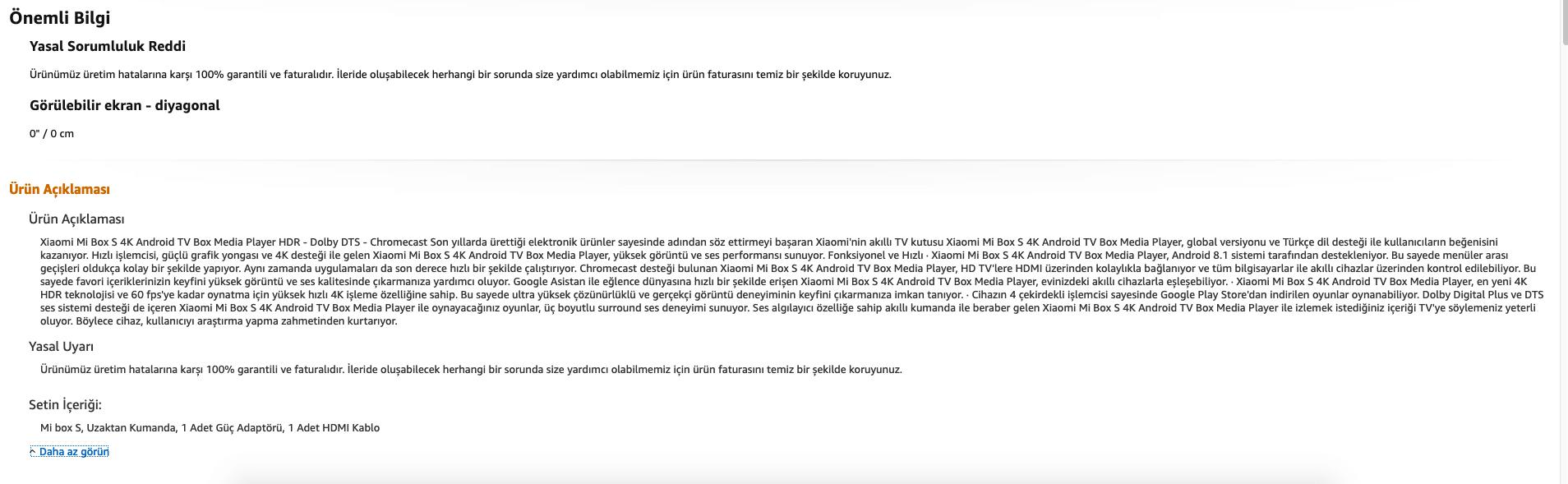 Amazon ürün açıklaması örneği