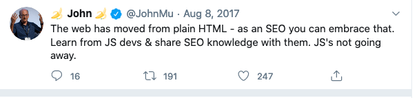 Javascript SEO, John Quote