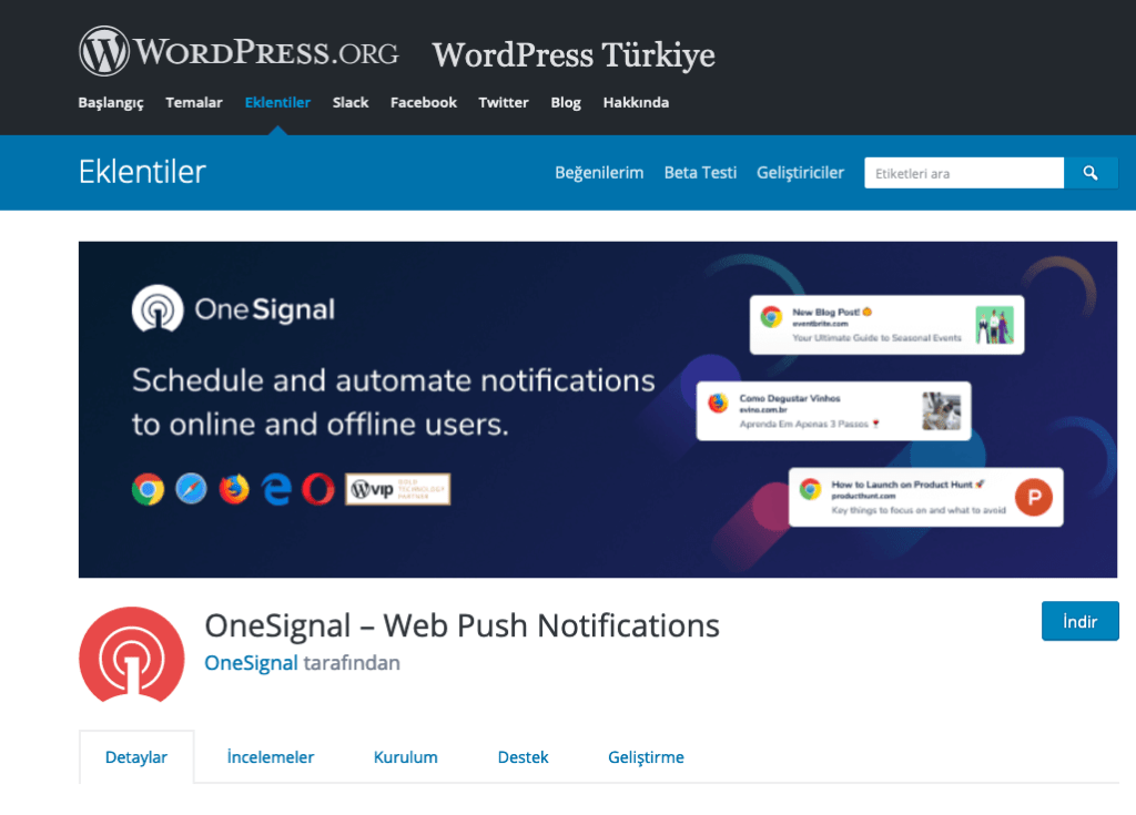one signal push notification - en iyi wordpress eklentileri