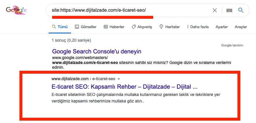 Google üzerinde site komutu kullanarak indeks kontrol etmek