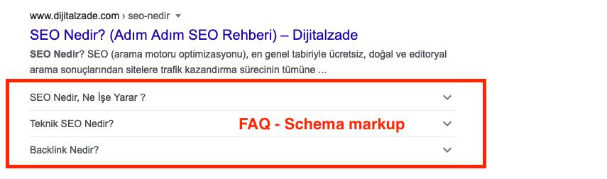 FAQ (SSS) yapılandırılmış veri örneği
