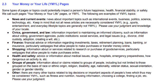 YMYL - Your money your life sayfaları ile alakalı görsel