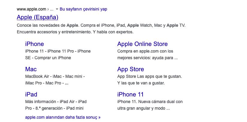 apple ispanyadan yapılan arama sorgusu örneği