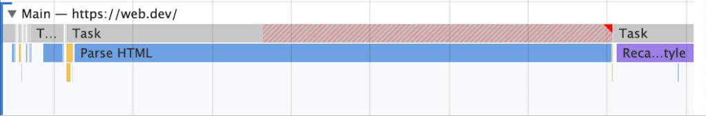 Chrome Devtools Long task örneği