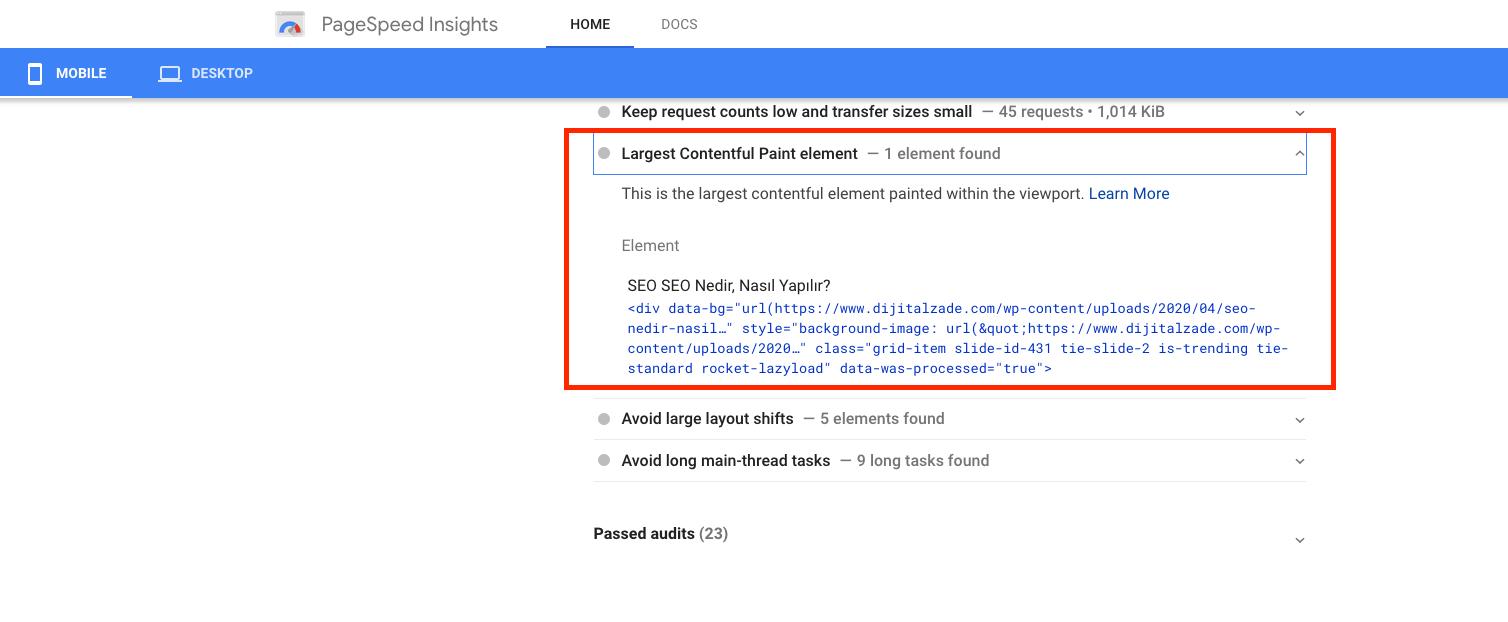 Google page speed üzerinden lcp değerini öğrenmek