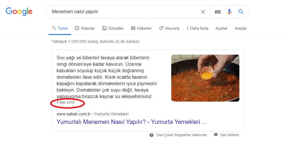 Güncellik ve Google Sıralaması Örneği