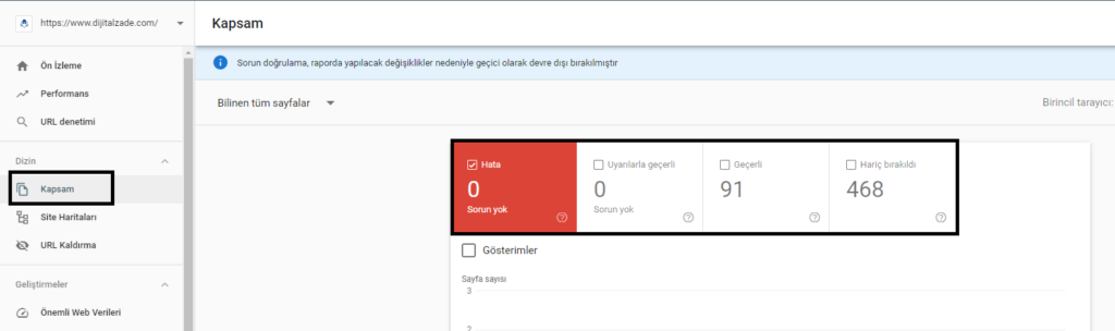 Google search console üzerinde http durum kodlarını gözlemleme