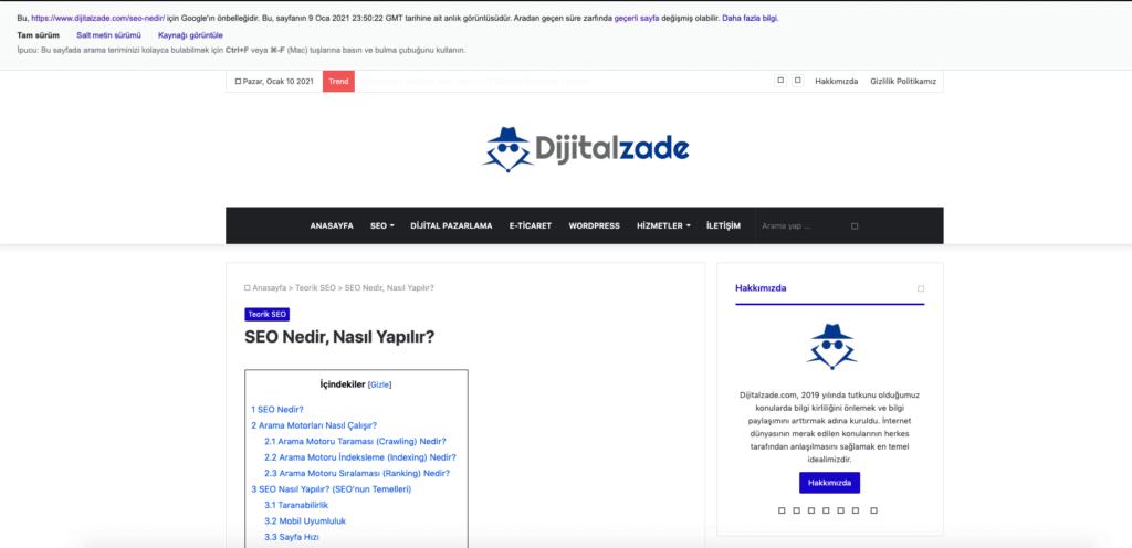 Dijitalzade Google cache (ön belleği) resmi
