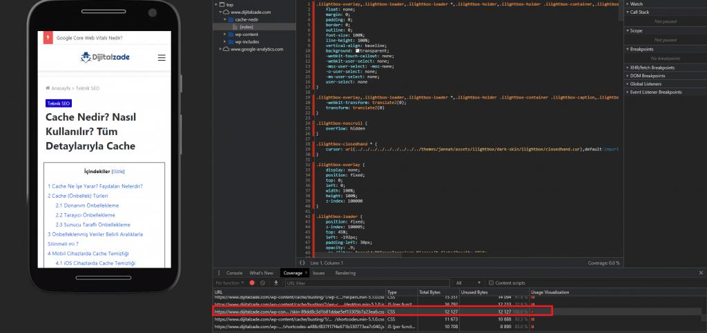 DevTools kullanılmayan JS ve CSS Kaynaklarına Göz Atmak