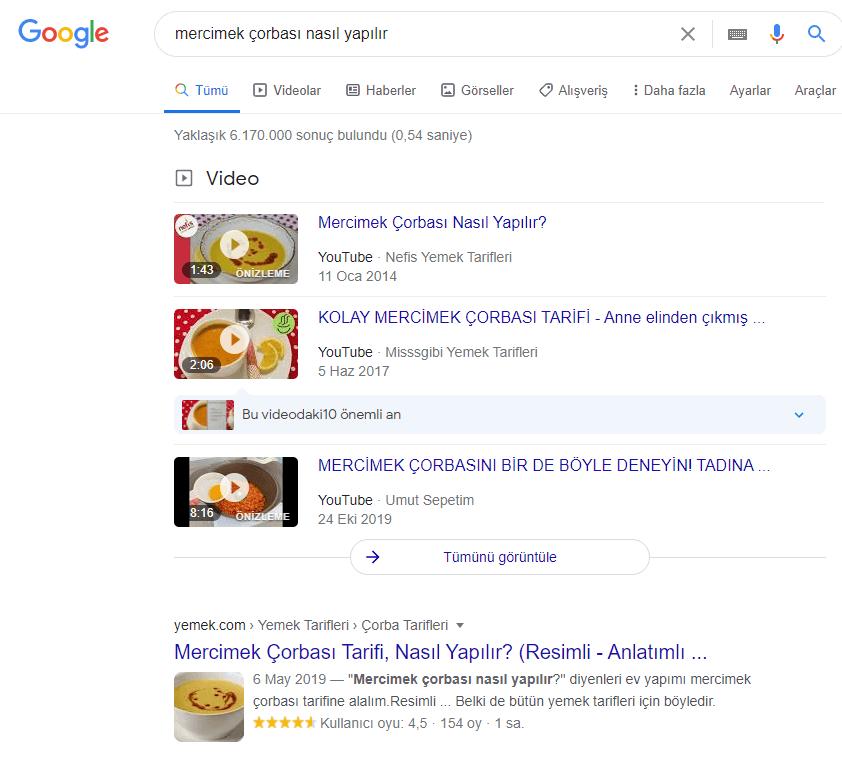 Google'da mercimek çorbası nasıl yapılır yazınca çıkan arama sonuçları görseli
