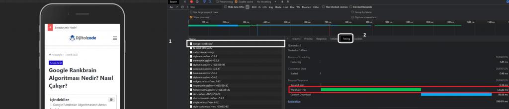Chrome devtools network üzerinden TTFB metriğini görüntüleme