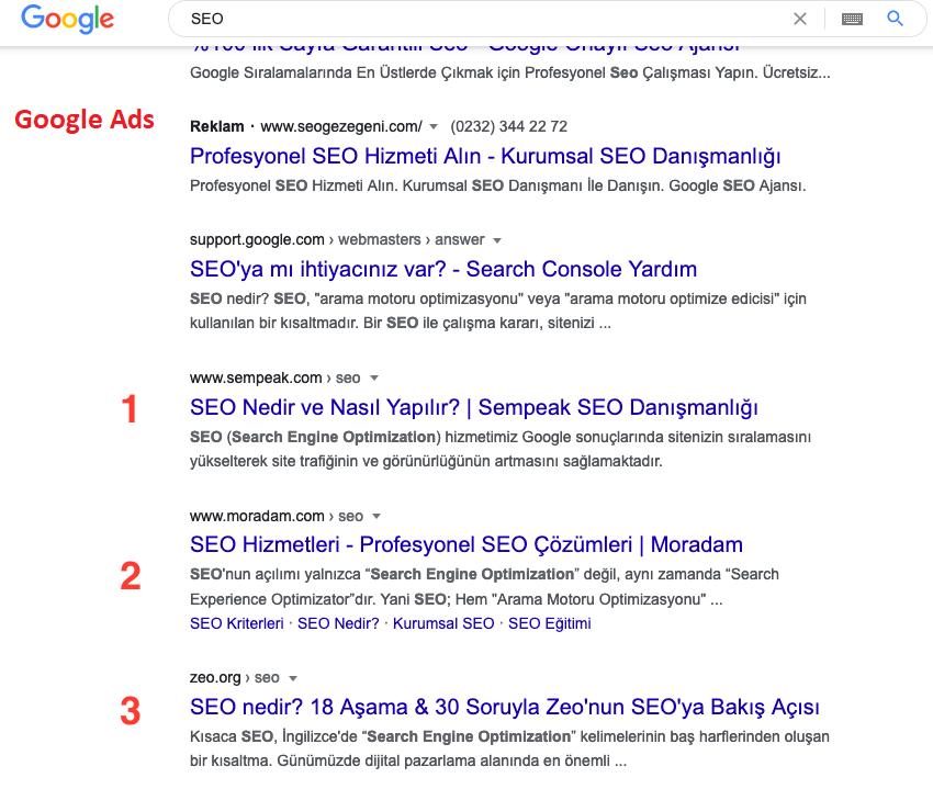 Google üzerinde rakip ve anahtar kelime analizi nasıl yapılır örneği