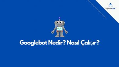 Googlebot nedir? nasıl çalışır? Öne çıkan görsel. Mavi arka plan zemini ve temsili Google botu