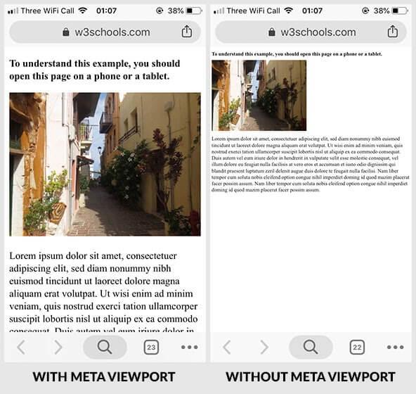 W3schools tarafından paylaşılan viewport etiketi olmazsa sayfada ne olur örneği.